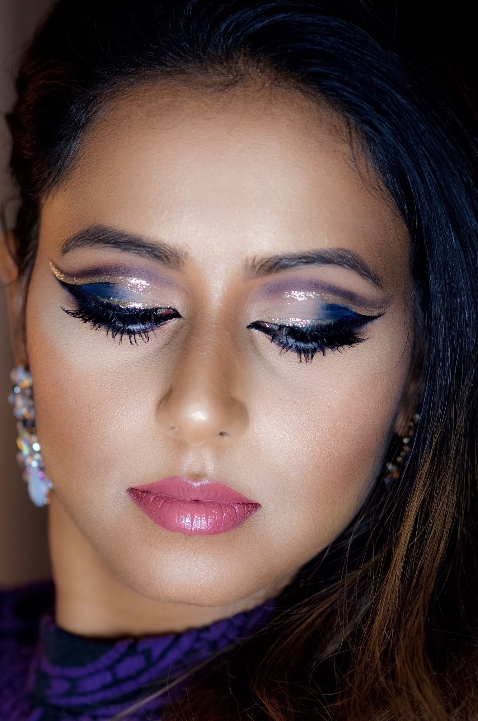 Glitter Double Cut Crease Makeup For Holidays Indian