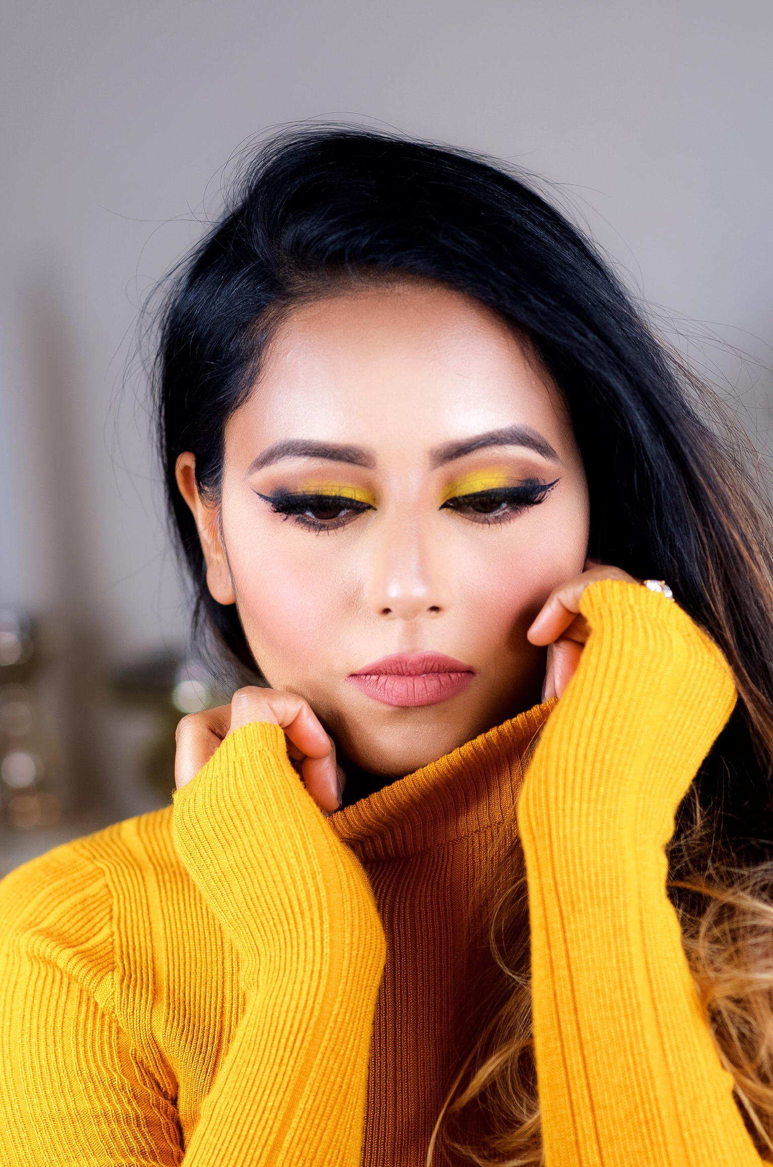 fall chrome yellow makeup look